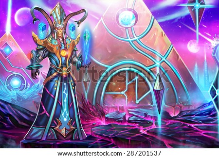 Illustration: The High Priest - It might be a horrible decision for the queen to call him back. He is a great threat, not only to her enemy, but also to her ruling power - Scene Design - Scifi Style - stock photo