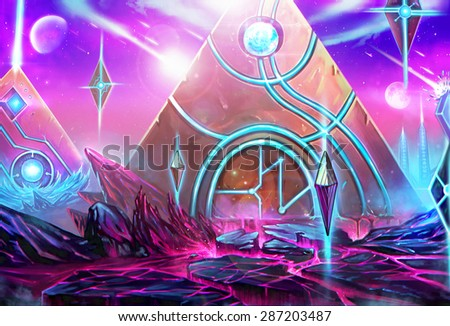 """Illustration: The Pyramids City - It's a civilization conquered by the """"High Priest"""" who has been exiled by the Queen. - Scene Design - Scifi Style - stock photo"""