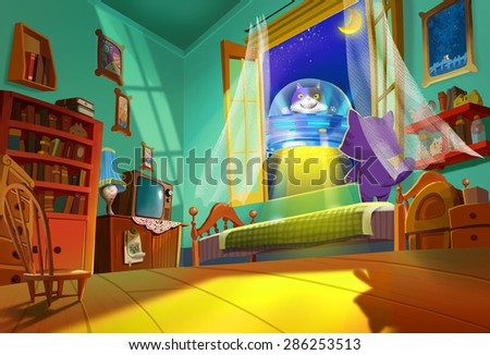 """Illustration: The Spaceship Coming From Cat Planet - """"Hi, Pal, Get up! I'm taking you home!"""" - Scene Design - Scifi & Fantastic Style - stock photo"""