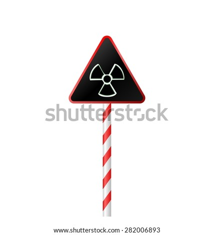 Illustration the warning symbol of radioactive hazard on road striped sign - raster - stock photo