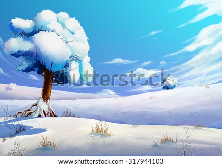 Illustration: The Winter Snow Field. Fantastic Cartoon Style Scene Wallpaper Background Design. - stock photo