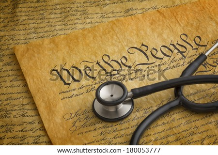 Illustration to highlight the relationship between the United States Constitution and health care rights or lack thereof.  - stock photo
