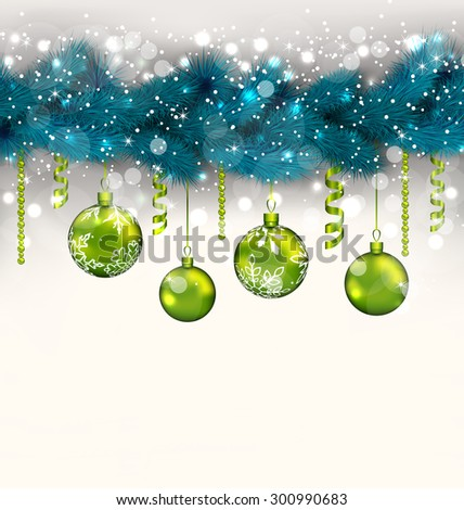 Illustration traditional decoration with fir branches and glass balls for Merry Christmas - raster - stock photo