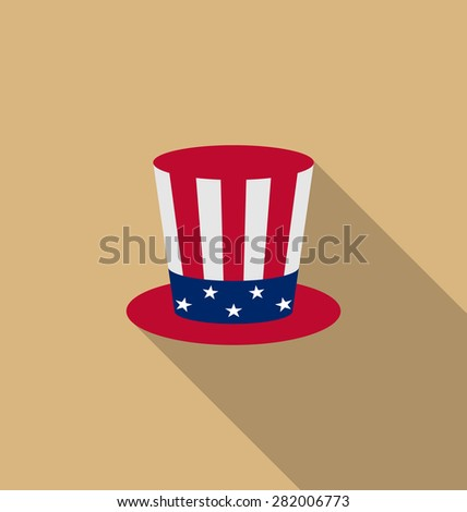 Illustration Uncle Sam's hat for american holidays, flat icon with long shadow, minimal style - raster - stock photo