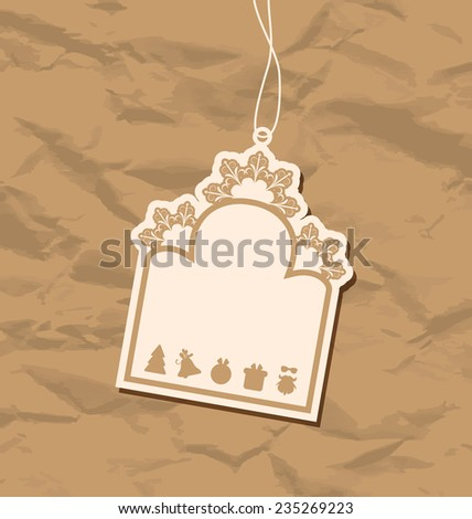 Illustration vintage blank badge with Christmas elements - raster - stock photo