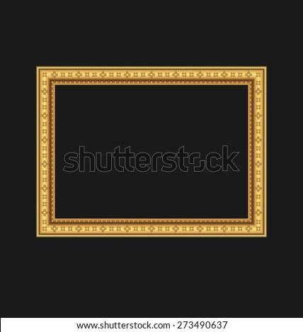 Illustration vintage picture frame isolated on black background - raster - stock photo