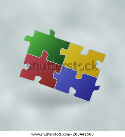 Illustration vintage set colorful puzzle pieces - raster - stock photo