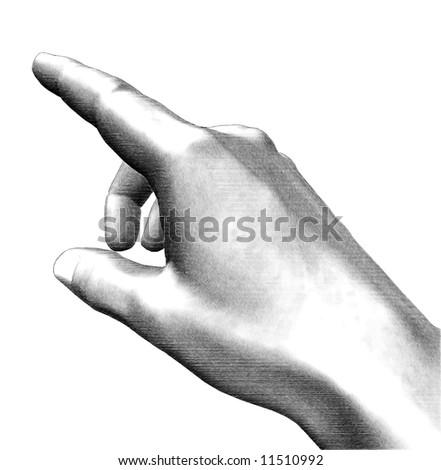 Illustration white and black hand pointing finger - stock photo
