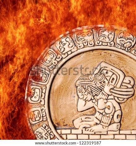 Illustration with a Flame maya calendar on fire. - stock photo