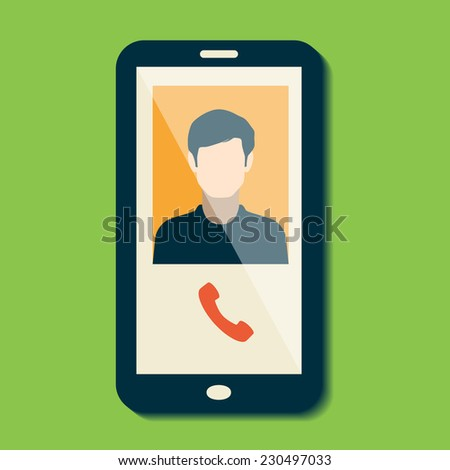 Illustration with a mobile phone conversation. Flat style. Raster version - stock photo