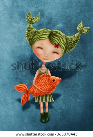 Illustration with a pisces astrological sign girl - stock photo