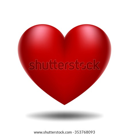 Illustration with a red valentine heart - stock photo