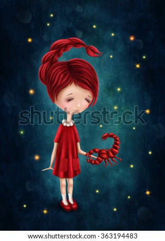 Illustration with a scorpio astrological sign girl - stock photo
