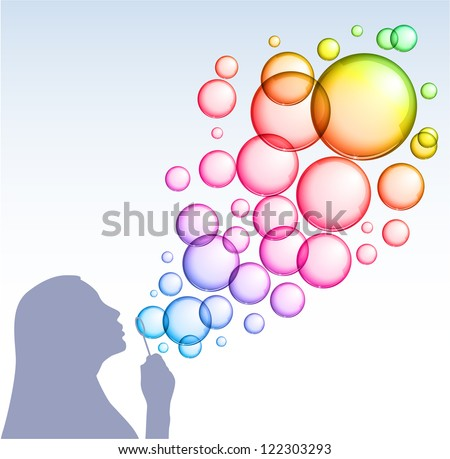 Illustration with a silhouette of a girl blowing rainbow soap bubbles - raster version - stock photo