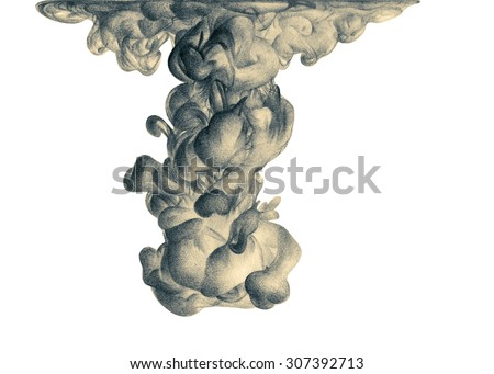 Illustration with abstract cloud of ink drawn by hand with colored pencils. Watercolor in water. Holi. Liquid ink. Pencil drawing. Element for design. Black and white - stock photo