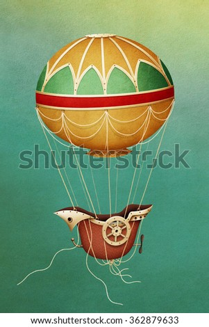 Illustration with  balloon and  ship - stock photo