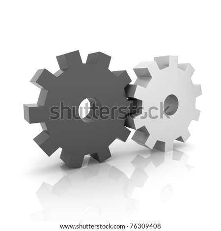 Illustration with black and metallic gears teamwork concept (black collection) - stock photo