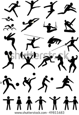 illustration with black sport icons isolated on white background - stock photo