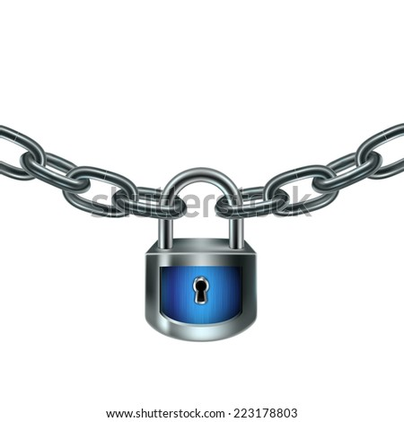 Illustration with blue lock and chain. Protection concept. Rasterized version. - stock photo