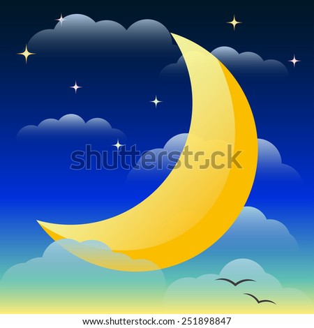 Illustration with bright yellow lighting moon floating in the night sky among the clouds and stars for use in design for card, invitation, poster, banner, placard or billboard cover - stock photo