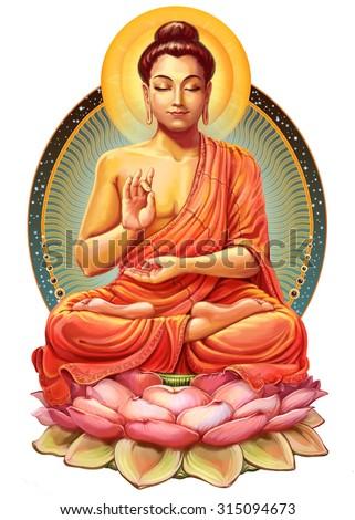 Illustration with Buddha in meditation. Raster illustration - stock photo