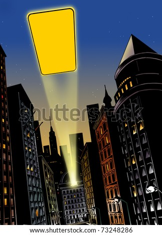 Illustration with city in the background with flash of light in the sky at night - stock photo