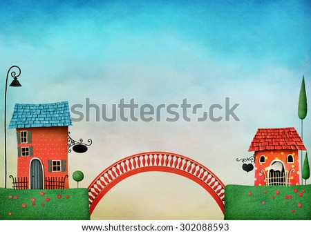 Illustration with colorful houses and bridge - stock photo