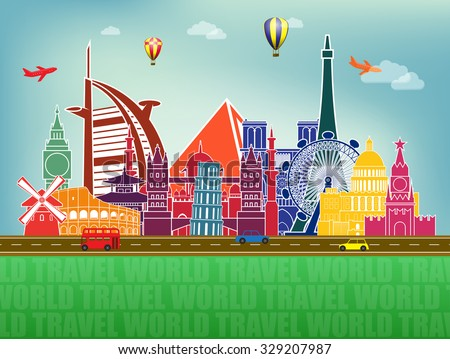 illustration with famous world landmarks icons - stock photo