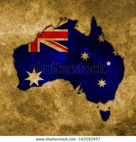 Illustration with flag in map on grunge background - Australia - stock photo