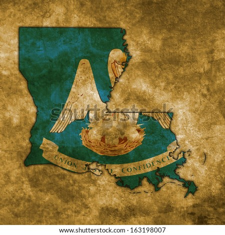 Illustration with flag in map on grunge background - Louisiana - stock photo