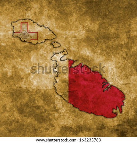Illustration with flag in map on grunge background - Malta - stock photo