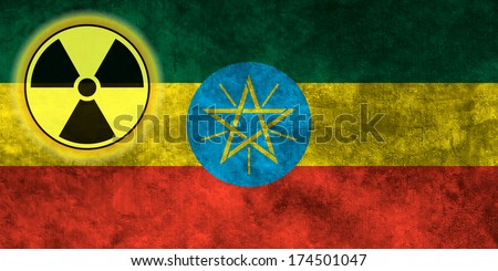 Illustration with flag on grunge background with nuclear sign - Ethiopia - stock photo