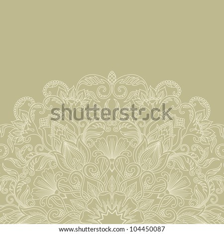 Illustration with floral ornament for print. Raster version. - stock photo