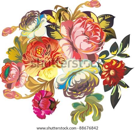 illustration with flowers isolated on white background - stock photo