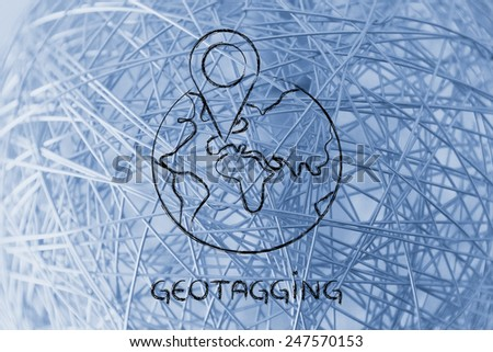 illustration with funny world globe and geo tagging localisation sign - stock photo