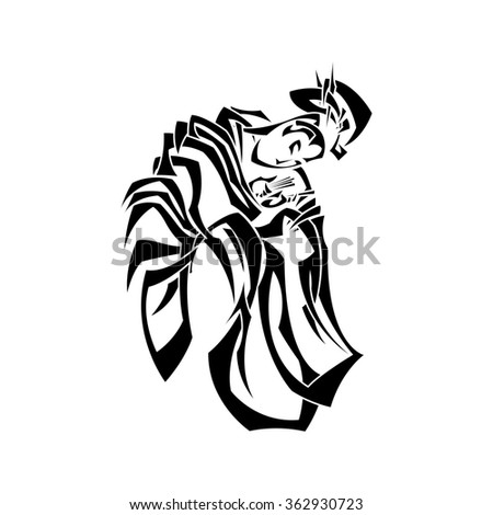 Illustration with graceful Japanese woman in a kimono with a classic hair style. Tribal tattoo. Black and white pointed weave. - stock photo