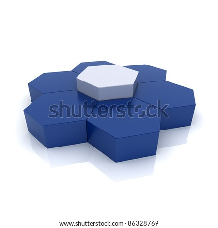 Illustration with group of hexagons (uniqueness concept) - stock photo