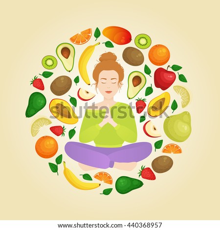 illustration with meditating woman in a circle of fruits. Yoga and health eating as a lifestyle. Organic vegan food. - stock photo