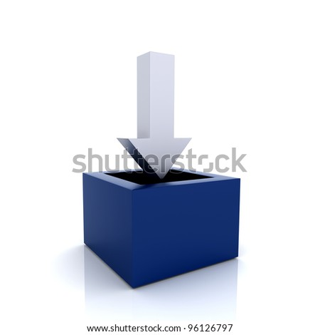 Illustration with metallic arrow and blue container - stock photo