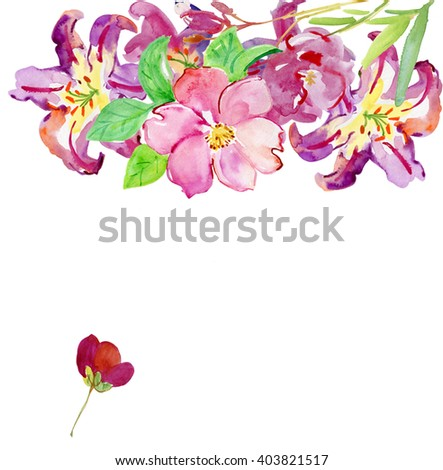 Illustration with realistic watercolor flowers. Beautiful bouquet with tropical flowers and plants on white background. Composition with red flowers. - stock photo