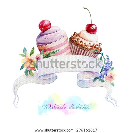 Illustration with ribbon for text and muffins. Watercolor illustration. Cupcakes with cherries. Art banner for your design. - stock photo