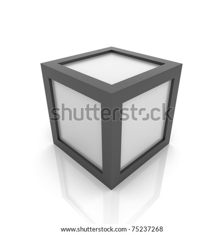 Illustration with silver cube with black borders (black collection) - stock photo