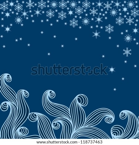 Illustration with snowflakes on blue winter background. Raster version. - stock photo