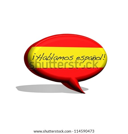illustration with spanish flag and text speak spanish. - stock photo
