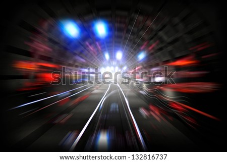 Illustration with subway tunnel with lights and motion blur - stock photo