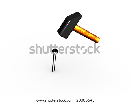 Illustration with the image of a hammer and a nail. - stock photo