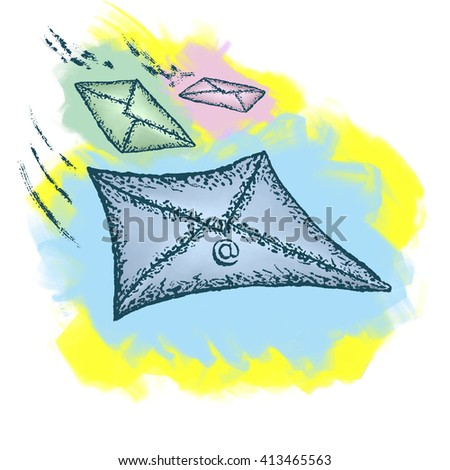 Illustration with the image of envelopes in different colors  for Design, Website, Background, Banner - stock photo