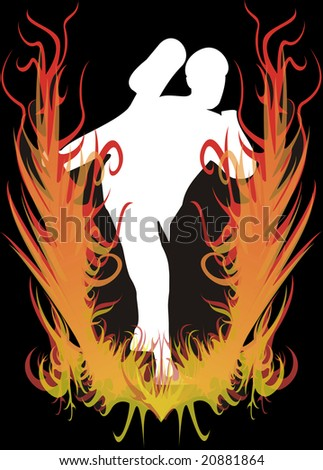 Illustration with the image of the karateka on fire. - stock photo