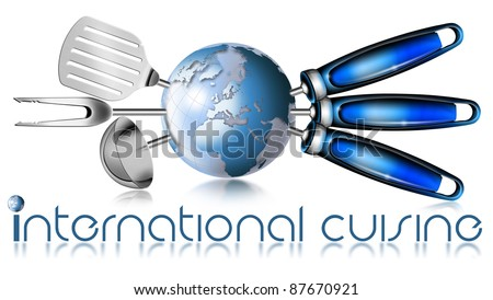 """Illustration with three kitchen tools and globe with written """"international cuisine"""" - stock photo"""