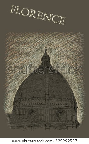 Illustration with view of Florence - stock photo